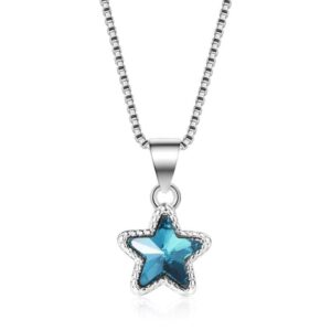 Blue Pentagram Star Necklace 925 Sterling Silver