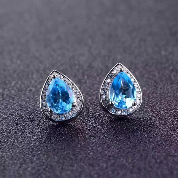Blue Topaz Ring + Pendant + Earring Jewelry Sets 925 Silver