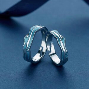 Blue Wavy Adjustable Ring 925 Sterling Silver