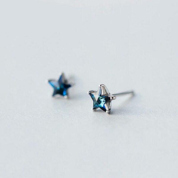 Blue Zircon 925 Sterling Silver Earrings Shining Star Studs
