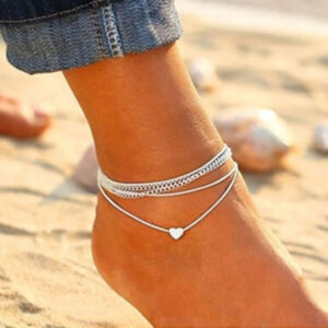 Bohemian Silver Color Heart Chain Anklets