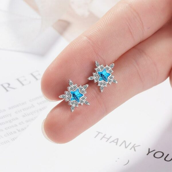 Bright Zircon Snowflake Studs Earrings 925 Sterling Silver