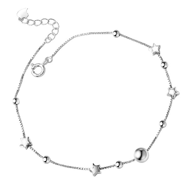 Chain Anklet Beads & Star Barefoot 925 Sterling Silver