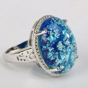 Classic Blue Opal Gemstones Ring 925 Sterling Silver