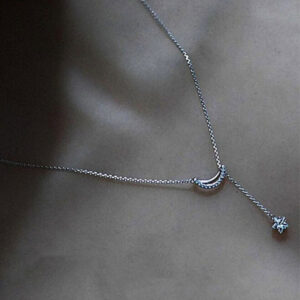 Crescent Moon Star Charmed Necklaces 925 Sterling Silver