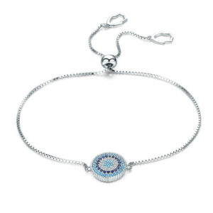 Cubic Zircon Blue Eyes Adjustable Bracelets 925 Sterling Silver