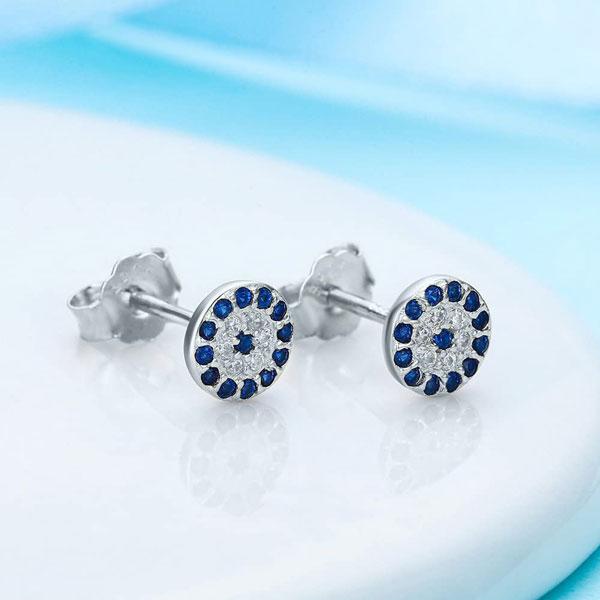 Cubic Zirconia Gemstone Blue Eye 925 Sterling Silver Stud Earrings