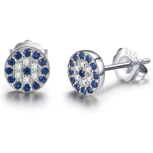 Cubic Zirconia Gemstone Blue Eye 925 Sterling Silver Stud Earrings