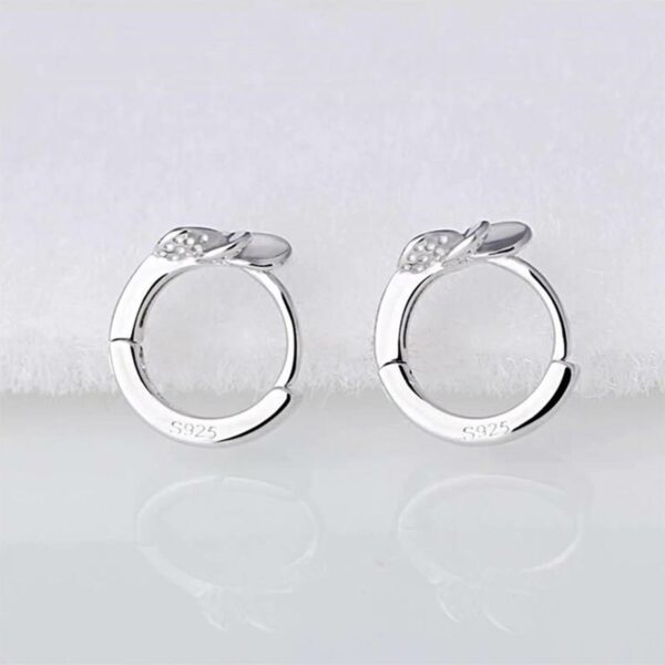 925 Sterling Silver Cute Retro Leaf Flower Earrings