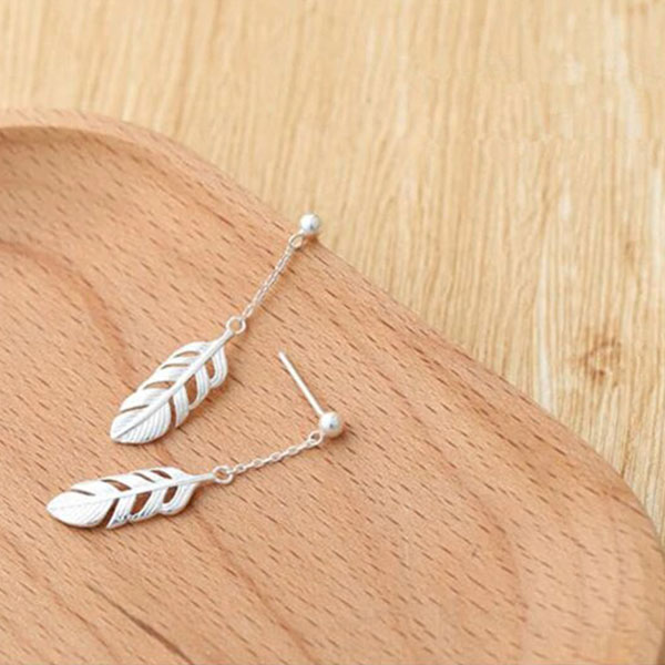 Delicate Sweet Feather Long Earring 925 sterling silver