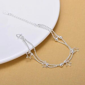Double Beads Chain Star Anklet 925 Sterling Silver