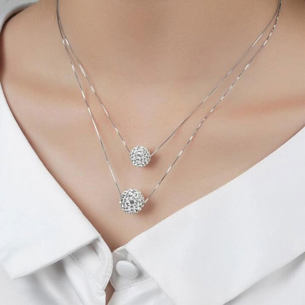 Double Full Diamond Crystal Ball Sparkle Necklaces 925 Sterling Silver