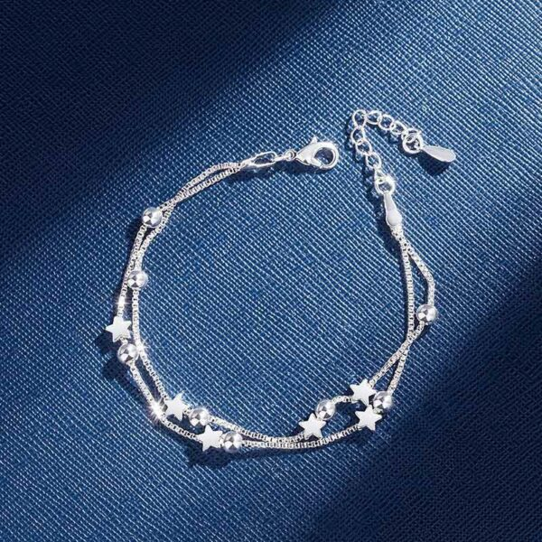 Double Layers Stars Beads Bracelets 925 Sterling Silver
