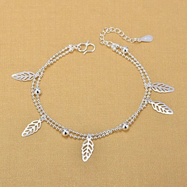 Double layer Charm Anklet 925 Sterling Silver
