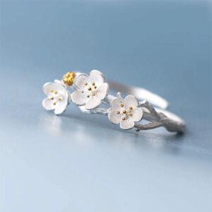 Elegant Plum Jewel Blossom 925 Sterling Silver Adjustable Rings