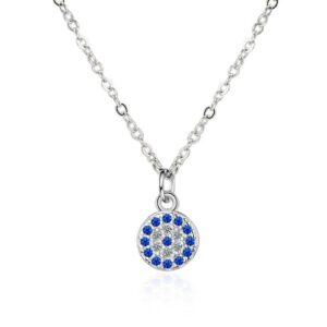 Evil Of Eye Cubic Zirconia Necklace 925 Sterling Silver