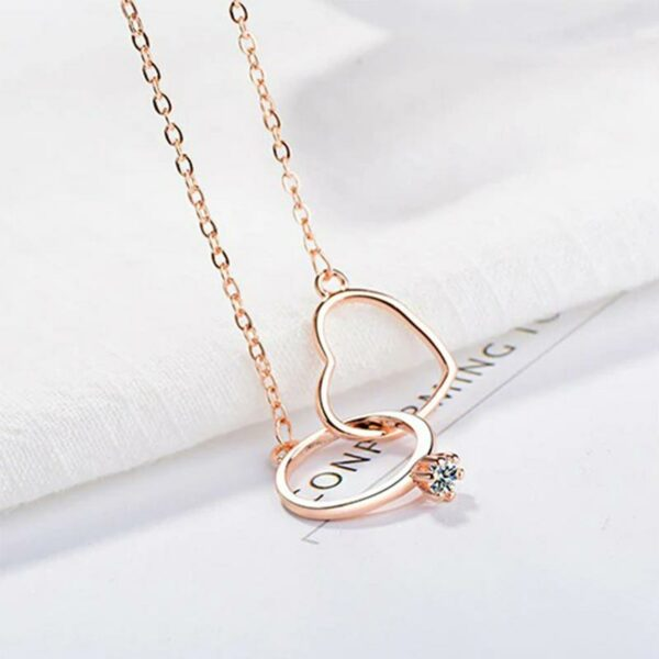 Exquisite Love Ros Gold Necklaces Double Circle Crystal Heart Shaped 925 Sterling Silver