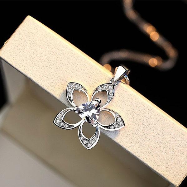 Flower Design 925 Sterling Silver Necklace Crystal Collar Bone Choker