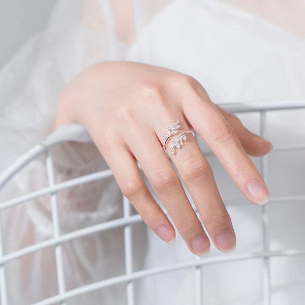 Genuine Crystal Branch Leaf 925 Sterling Silver Adjustable Rings