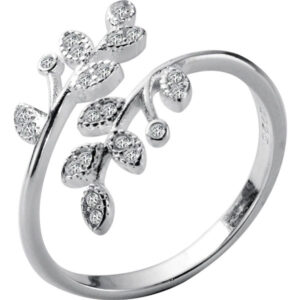 Genuine Crystal Branch Leaf 925 Sterling Silver Adjustable Rings
