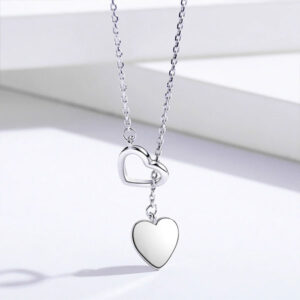 Genuine Double Charm Heart 925 Sterling Silver Necklace Fine Jewelry