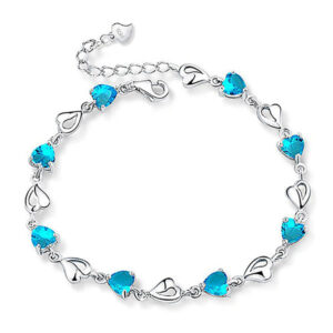 Genuine Heart-Shaped Aquamarine 925 Sterling Silver Bracelets