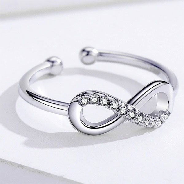 Genuine Infinity Lucky 8-Shaped Zirconia 925 Sterling Silver Adjustable Ring