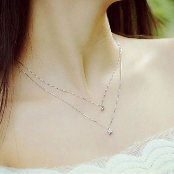Genuine Inlaid Double Neck Chain Clavicle Necklace 925 Sterling Silver