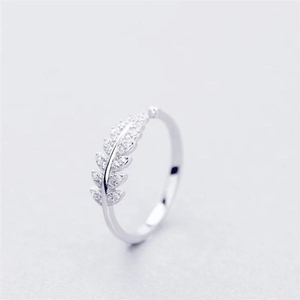 Genuine Leaf Adjustable Ring 925 Sterling Silver