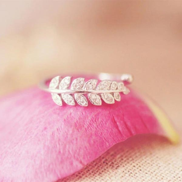 Genuine Leaf Adjustable Ring 925 Sterling Silver