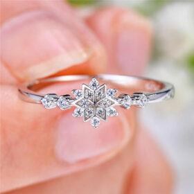 Genuine Snowflake Ring 925 Sterling Silver Ring