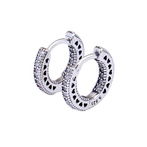 Genuine Sparkle & Hearts Pandora 925 Sterling Silver Earring