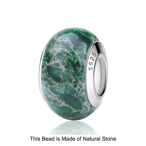 Green Murano Natural Stone Charms 925 Sterling Silver