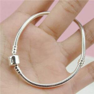 Handmade Beads Snake Bone Chain Bracelet 925 Sterling Silver
