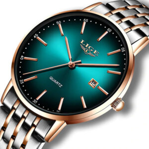 LIGE Luxury Rose Gold Green Steel Strap Women Wrist Watches
