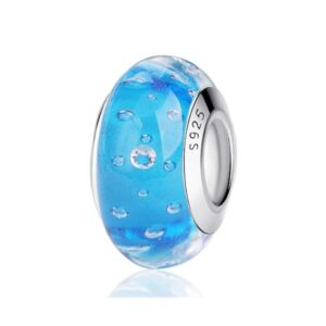Light Blue Bubble Murano Glass Charms 925 Sterling Silver