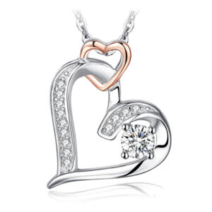 Lovely Double Love In Your Heart Pendant Necklace 925 Sterling Silver
