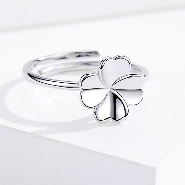 Lucky 4 Leaf Clover 925 Sterling Silver Adjustable Rings