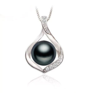 Natural Freshwater Black Pearl Necklace Chain 925 Sterling Silver