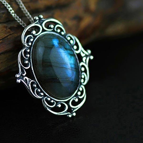 Natural Labradorite Handmade Vintage Pendant 925 Sterling Silver Jewelry