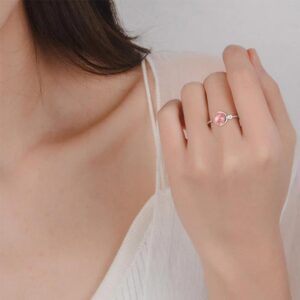 Natural Pink Crystal Adjustable Ring 925 Sterling Silver