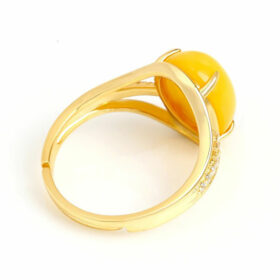 Natural Yellow Amber Ring Adjustable Size 925 Silver