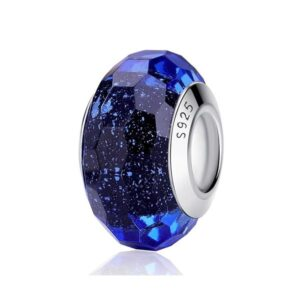 Navy Blue Murano Solid Glass Charms 925 Sterling Silver