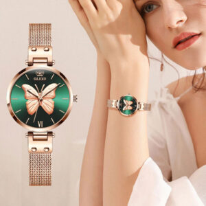 OLEVS Rose Gold Vivid Butterfly Watch Fashion Quartz Ladies Stainless Steel Relogio Feminino