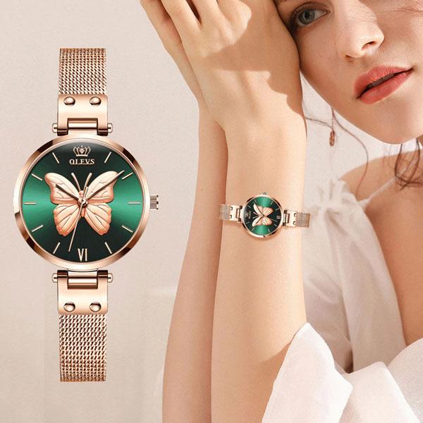 OLEVS Rose Gold Vivid Butterfly Watch Fashion Quartz Ladies Stainless Steel Relogio Feminino