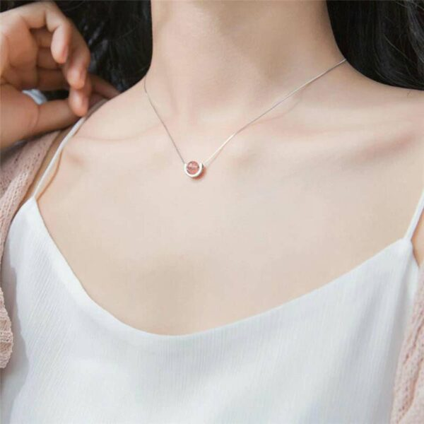 Pink Crystal Necklace 925 Sterling Silver