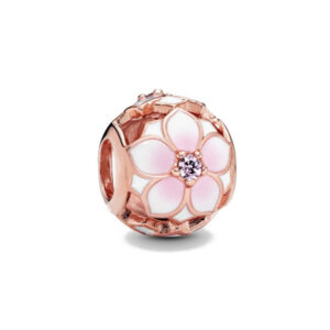 Pink Daisy Pandora Rose Gold Charm 925 Sterling Silver