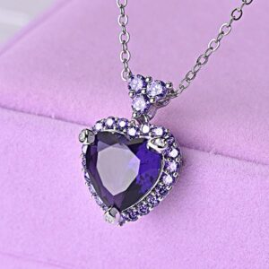 Purple Topaz Amethyst Pendant 925 Silver Chain Necklace