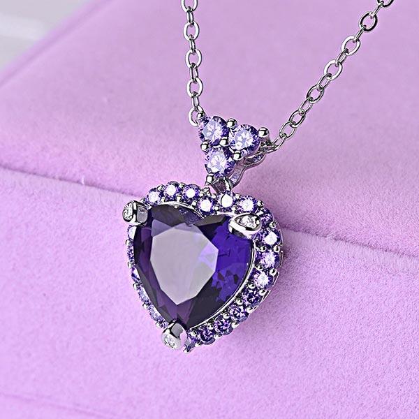 Purple Topaz Amethyst Pendant 925 Silver Chain Necklace