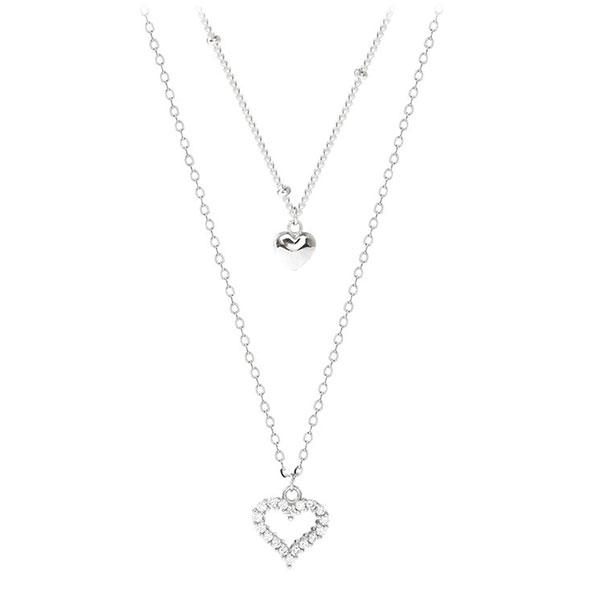 Romantic Double Heart Shaped 925 Sterling Silver Necklace